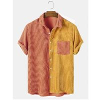 Mens light corduroy patchwork pocket breathable casual shirts - pink m