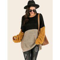 Color-block drop shoulder ribbed knit sweater l