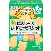 Wakodo snacks for 1+ carrot & pumpkin biscuits with dha (3 packets)