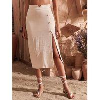 Split hem button side skirt s