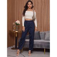 Shein elastic waist striped pants s