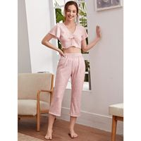 Ditsy floral bow front pj set