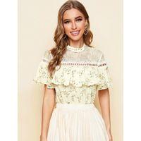 Shein ruffle trim lace yoke floral print top s