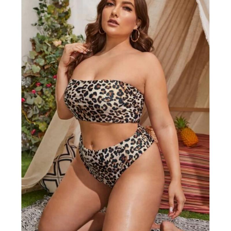 Plus leopard bandeau bikini swimsuit 3xl
