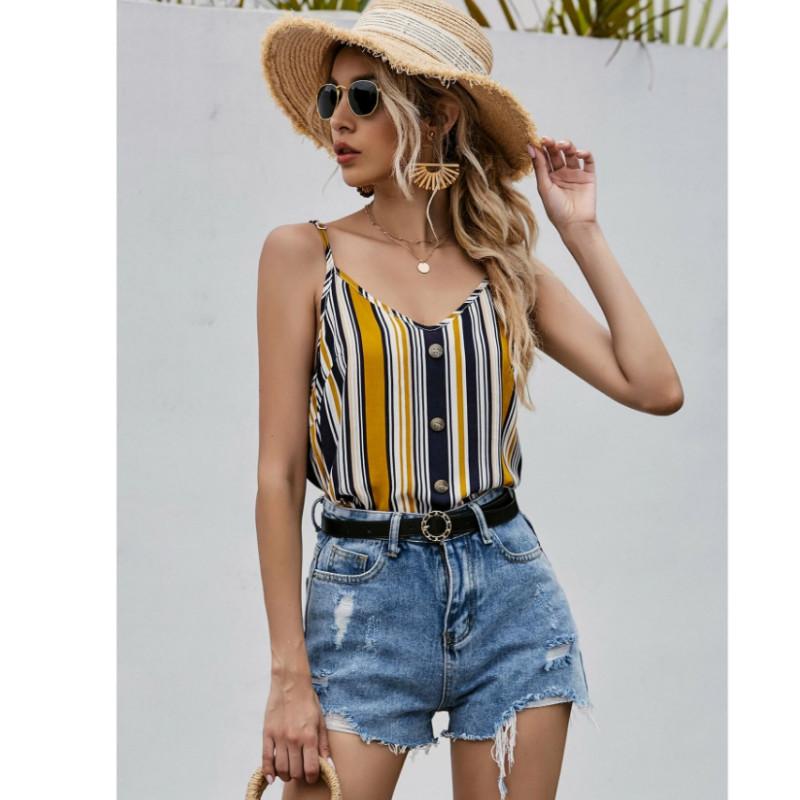 Color striped button front cami top xl