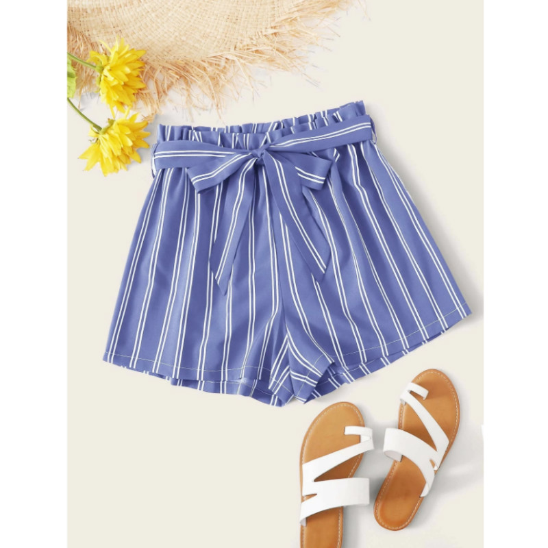 Striped paperbag waist belted shorts s