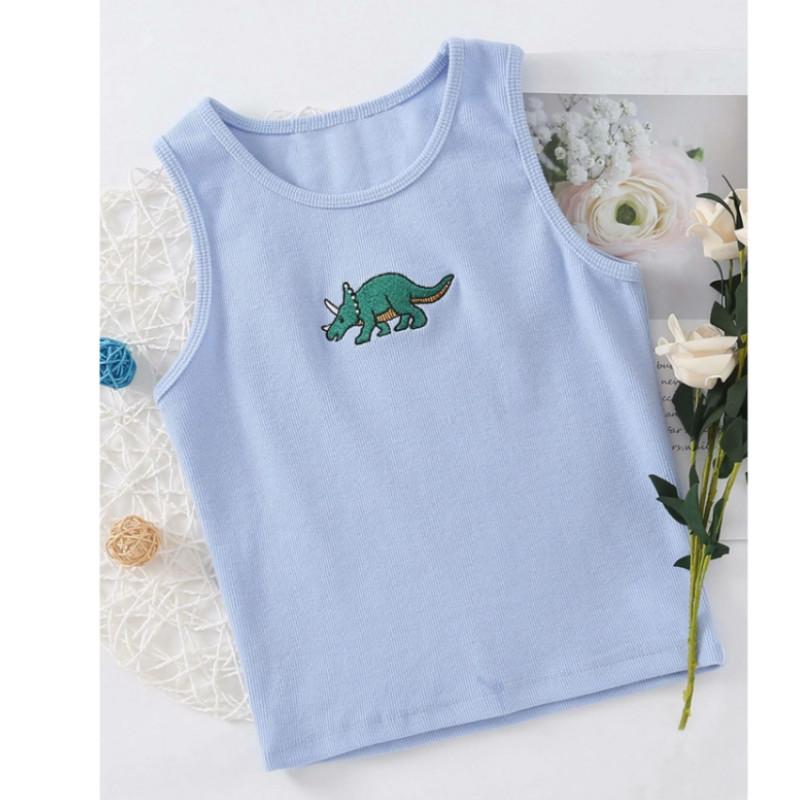 Dinosaur embroidery rib-knit tank top s