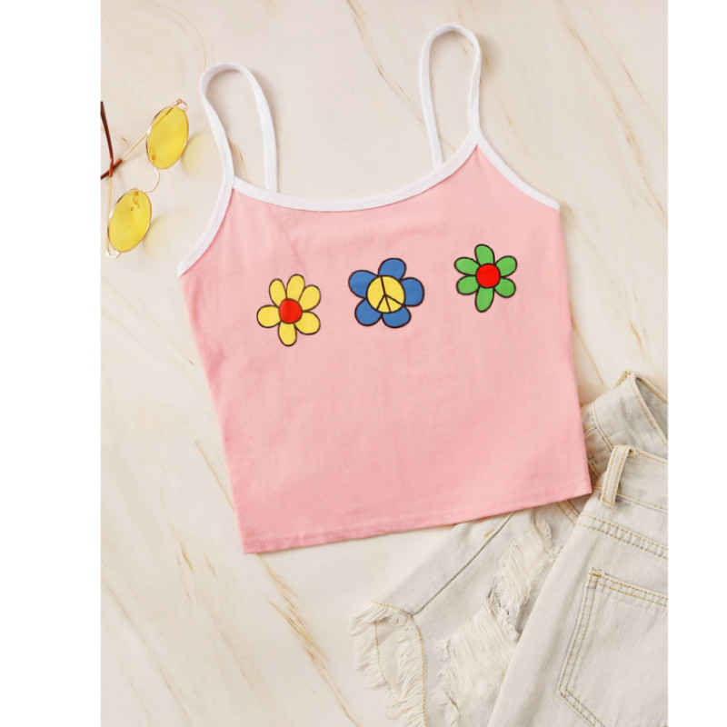 Floral & peace graphic cropped cami top s