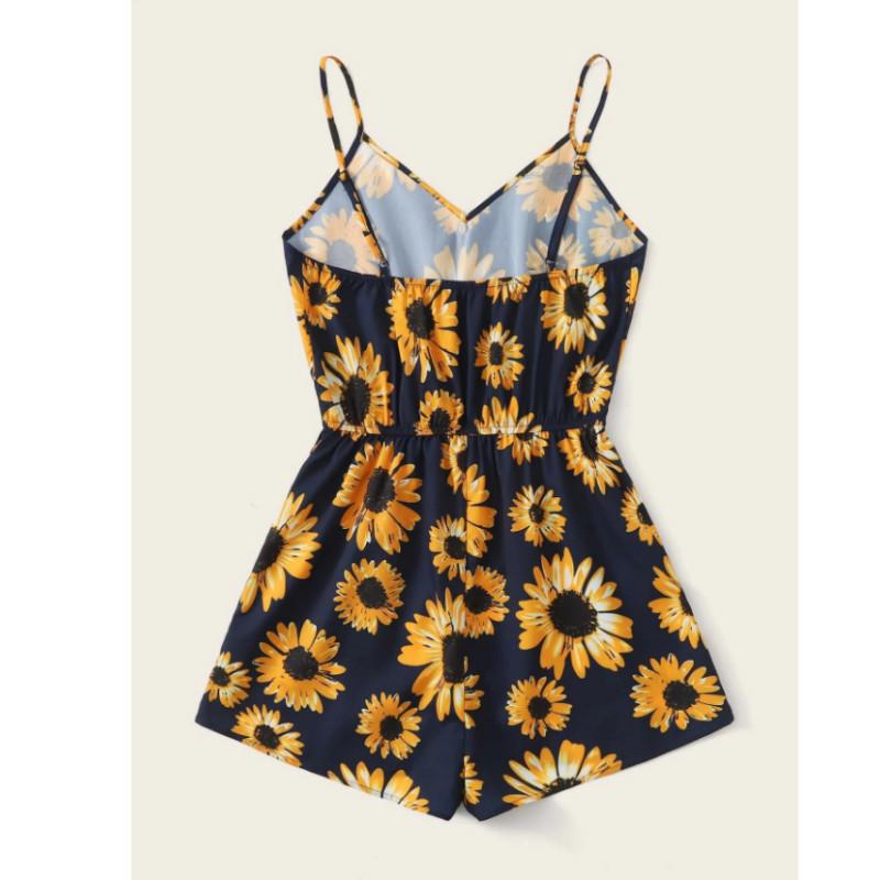 Sunflower print cami romper m