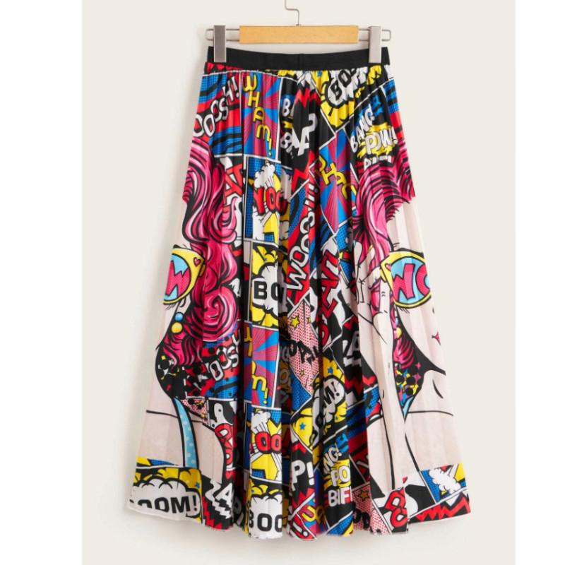 Pop art print full length skirt l