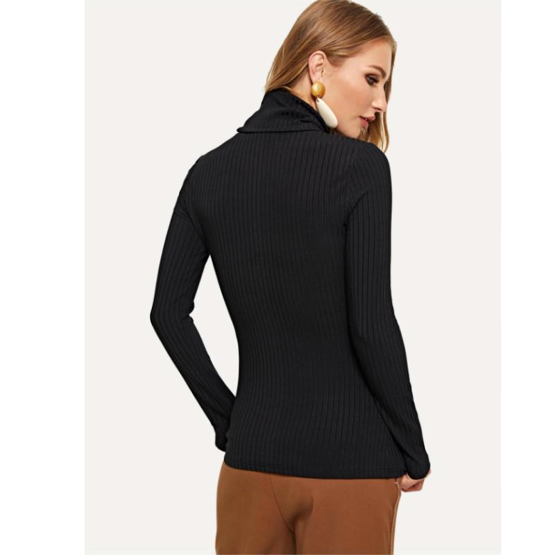 High neck rib knit t-shirt s