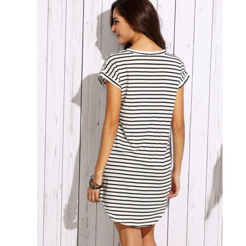 Striped v-neck curved hem t-shirt dress s