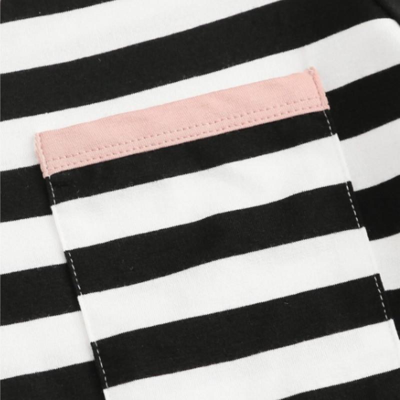 Striped print pocket patch ringer tee m
