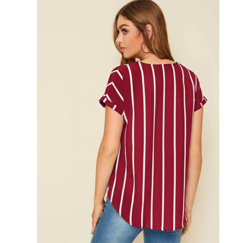 Striped button front top l