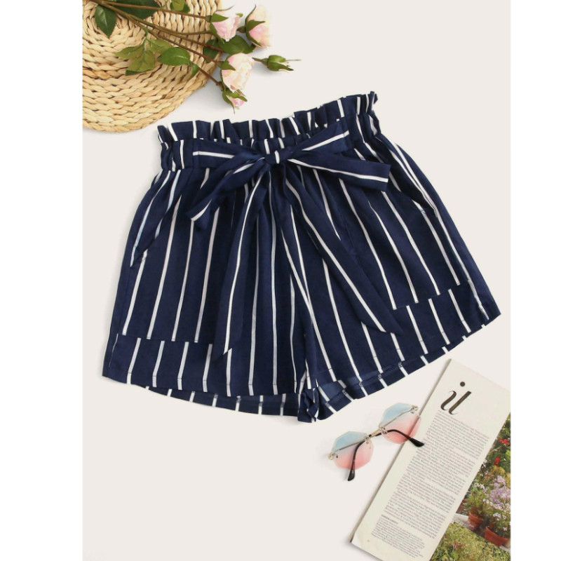 Striped self-tie paperbag shorts l/1xl