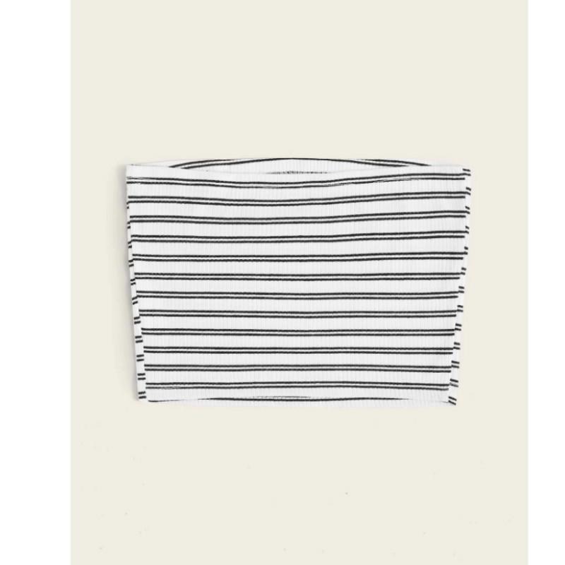 Striped crop tube top white m