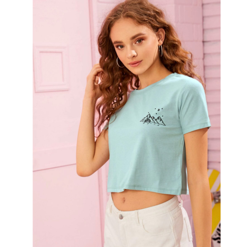 Embroidered mountain graphic cropped tee s