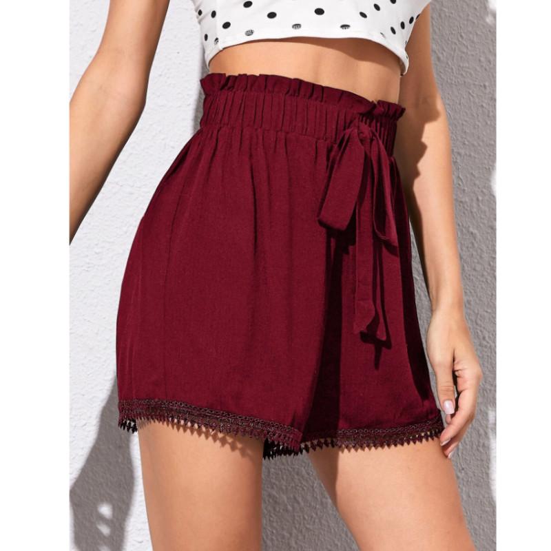 Guipure lace trim elastic waist knot shorts l