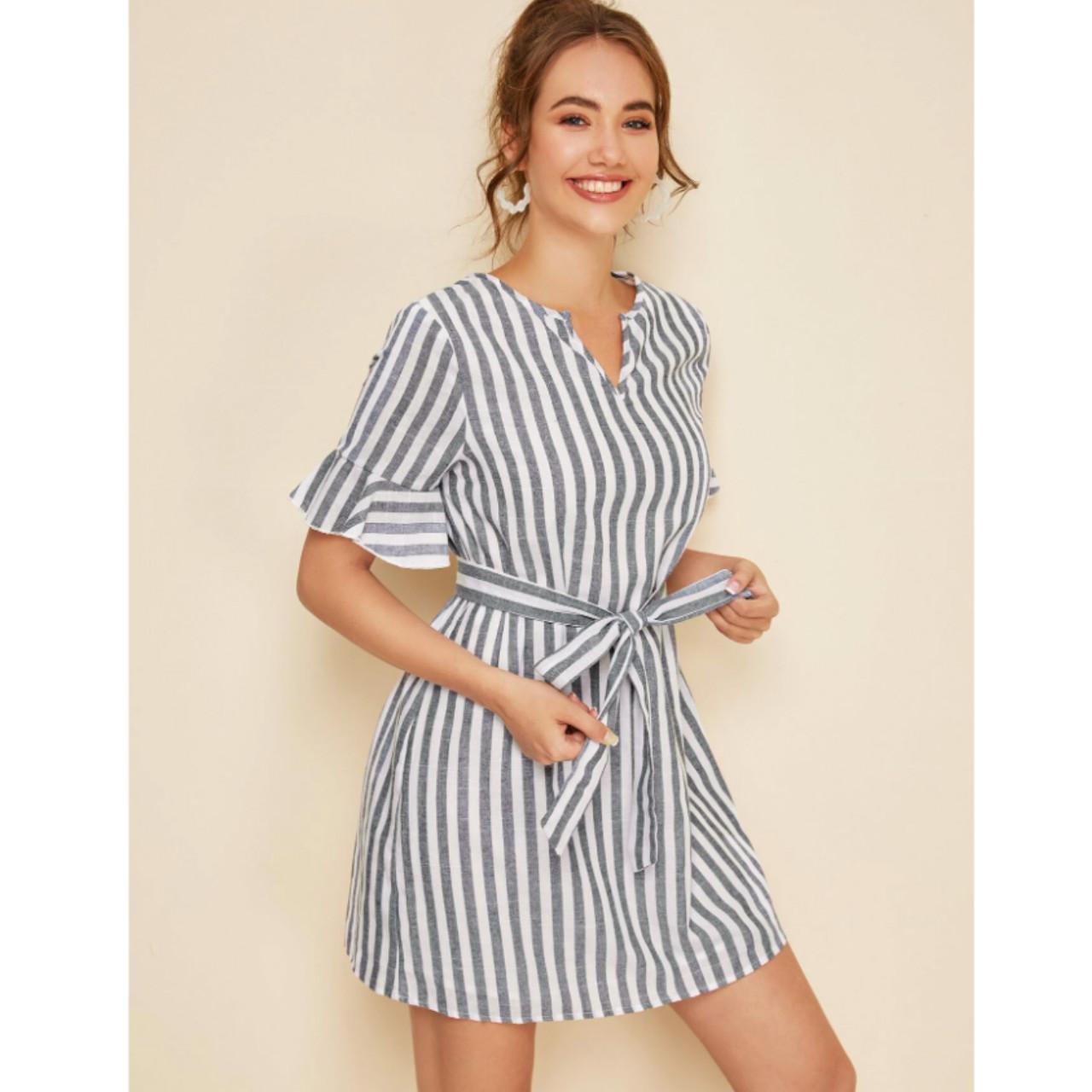 Notched neck flounce sleeve self belted striped dress xl