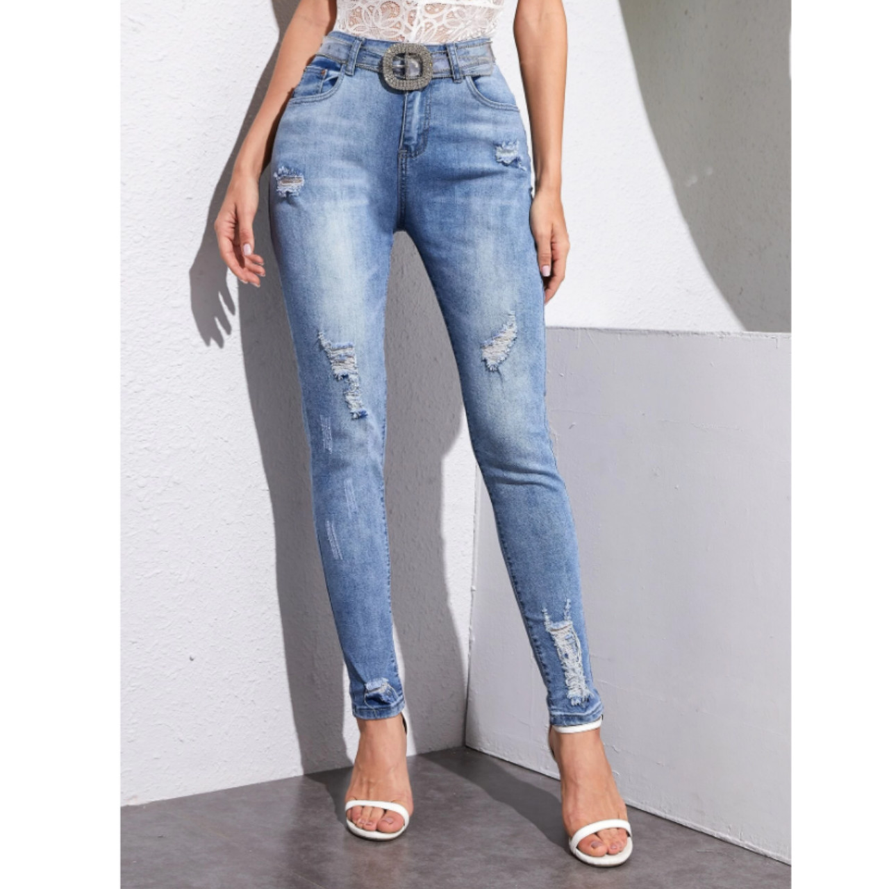 Light wash ripped skinny jeans without belt m