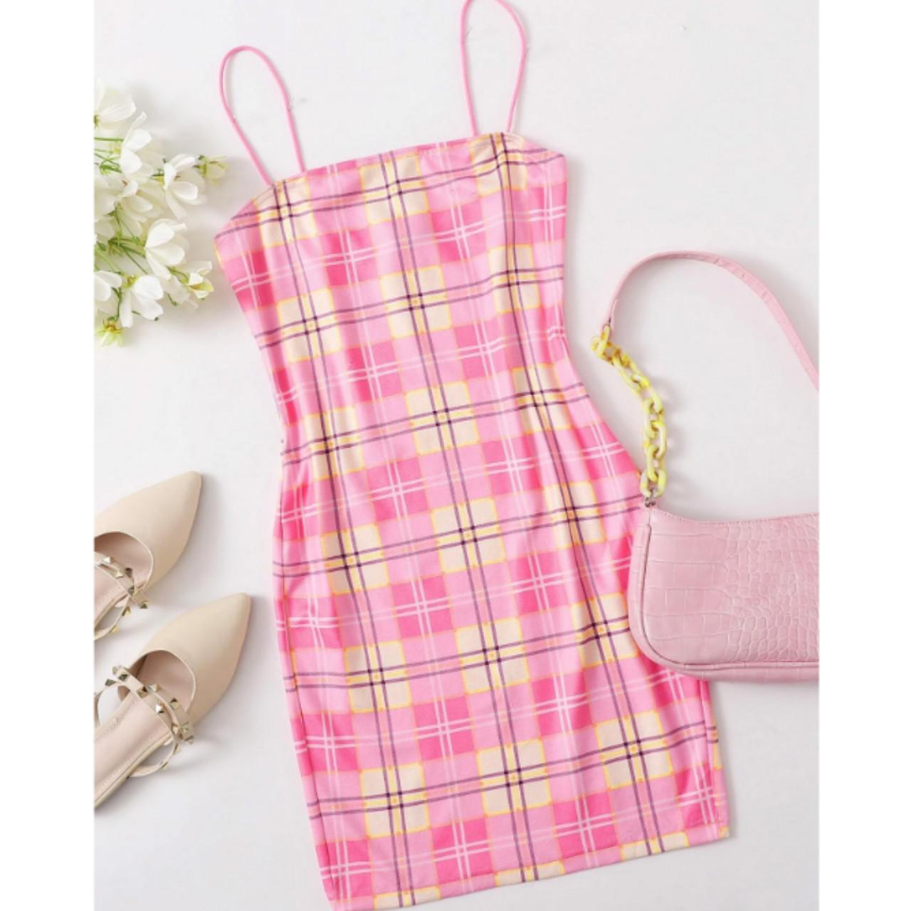 Plaid bodycon slip dress s
