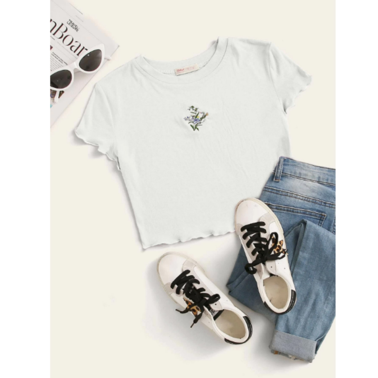 Flower embroidery crop tee s