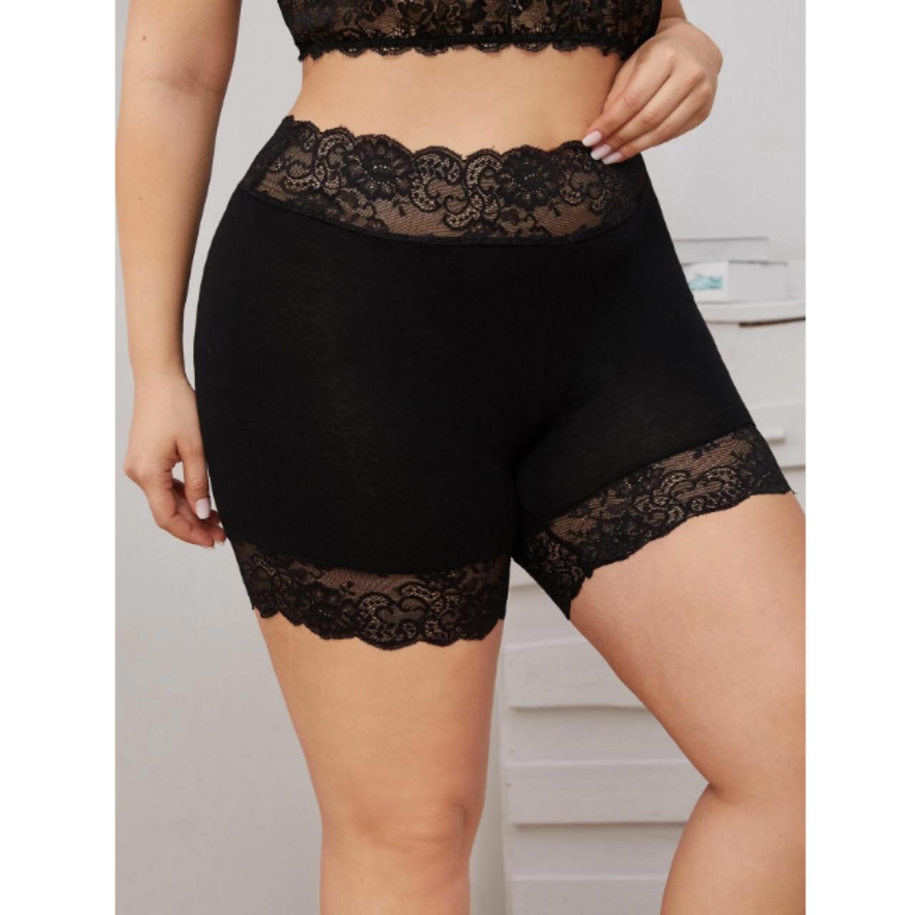 Plus contrast lace biker shorts 5xl