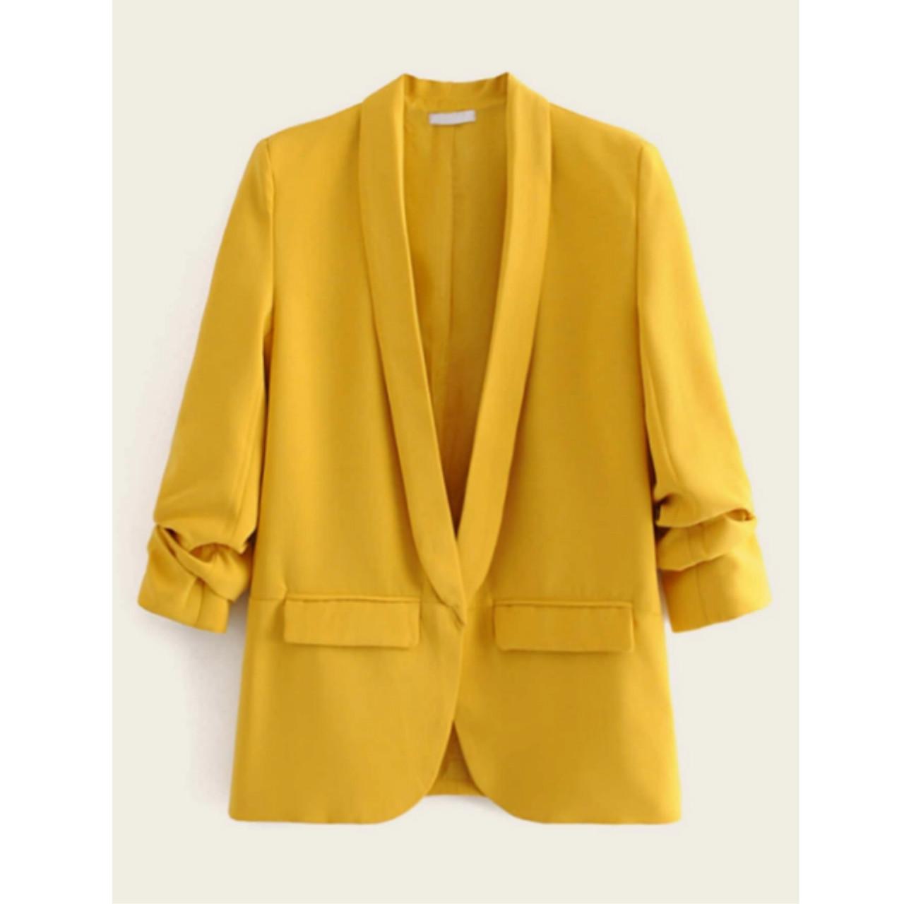 Solid shawl neck flap pocket blazer l