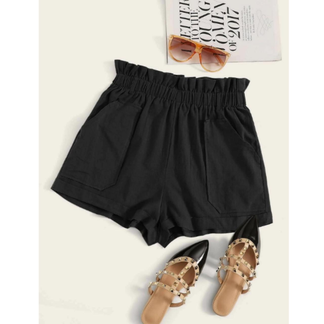 High-rise paperbag waist shorts xl