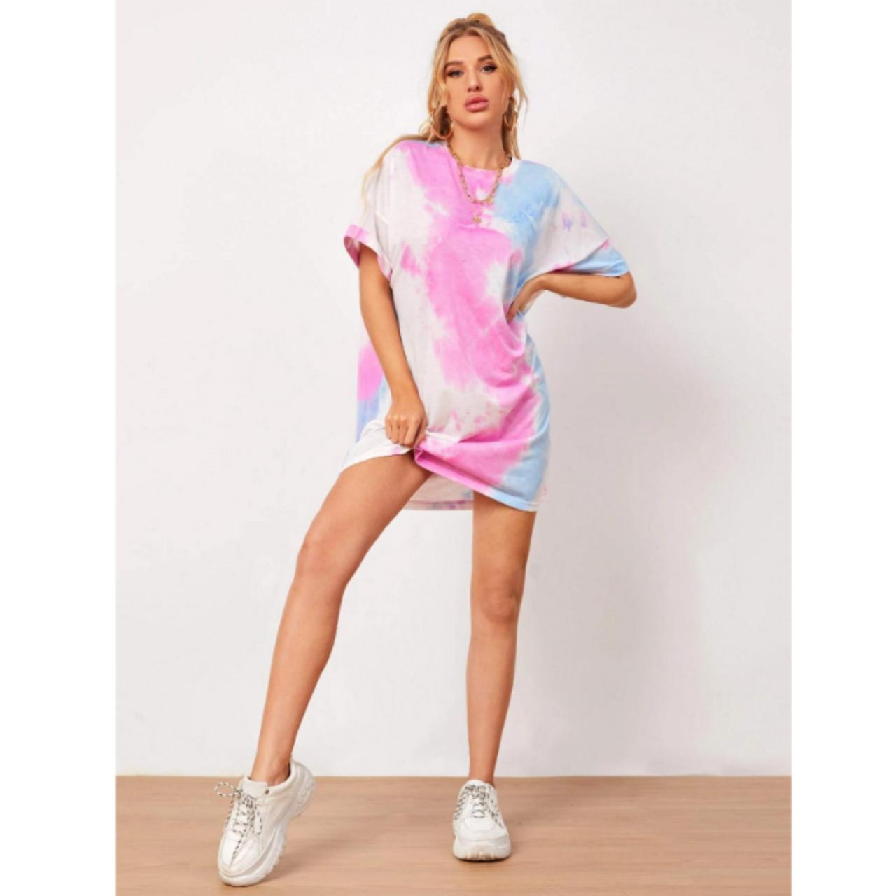 Tie dye drop shoulder oversized tee dress m