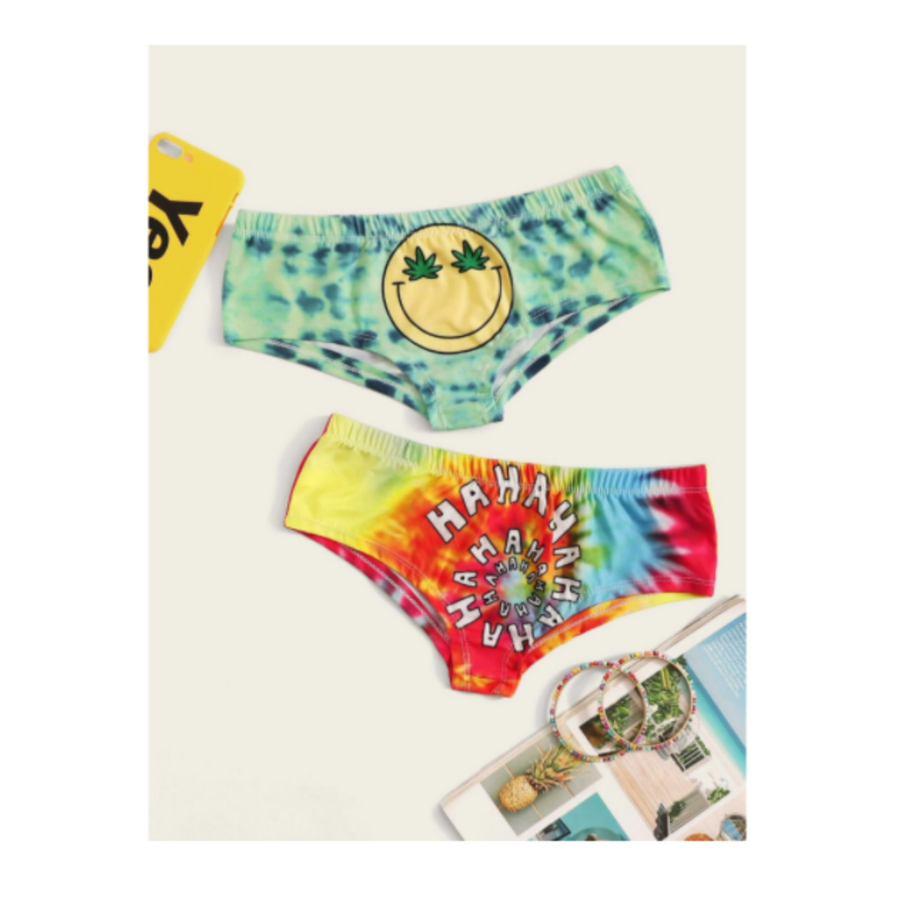 Mixed print tie dye panty set 2pack
