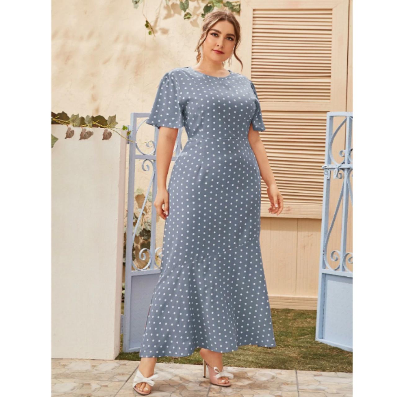 Plus polka dot ruffle hem maxi dress 3xl