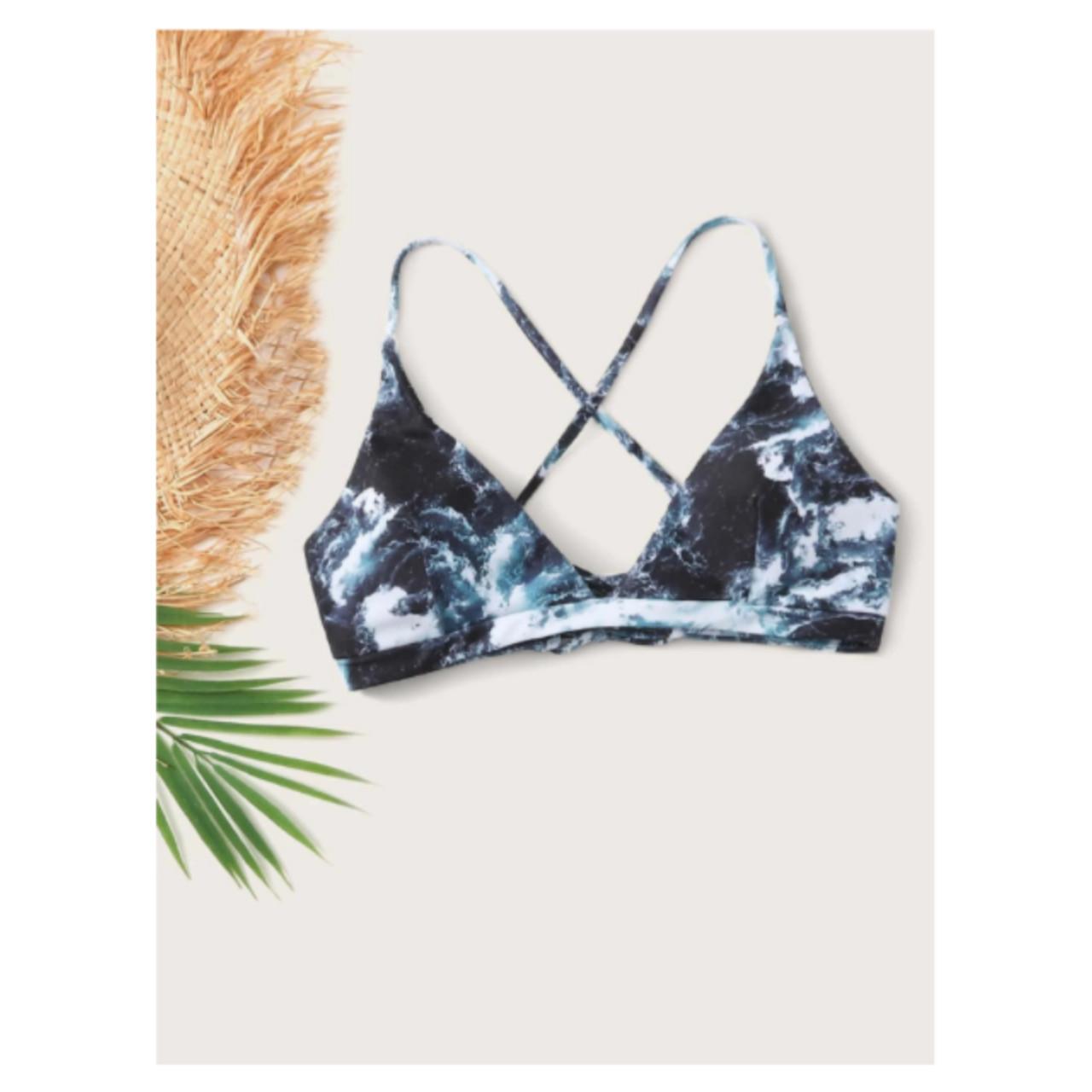 Bleach dye crisscross bikini top m