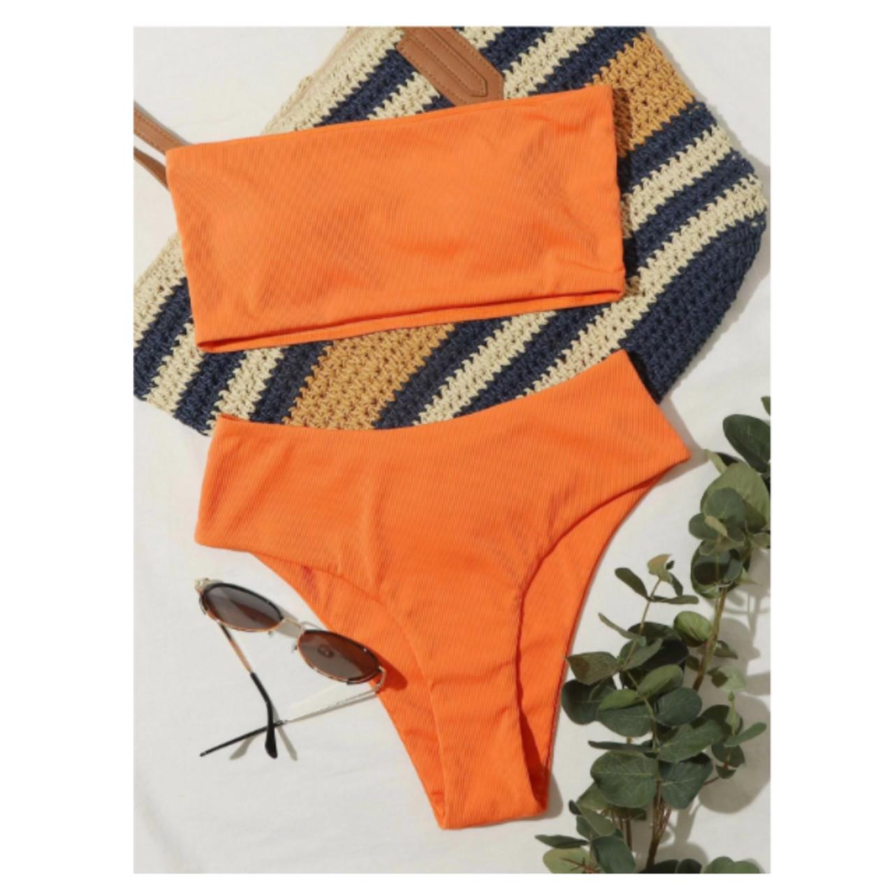 Rib bandeau high waisted bikini swimsuit m