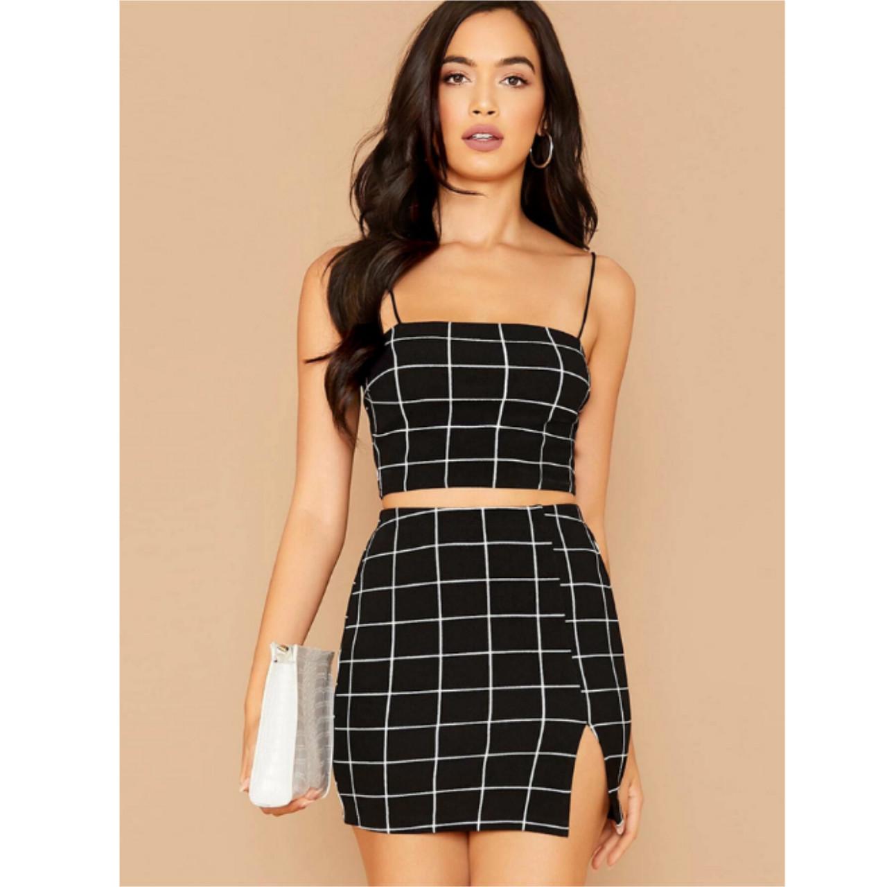 Grid print cropped cami top & mini skirt set s