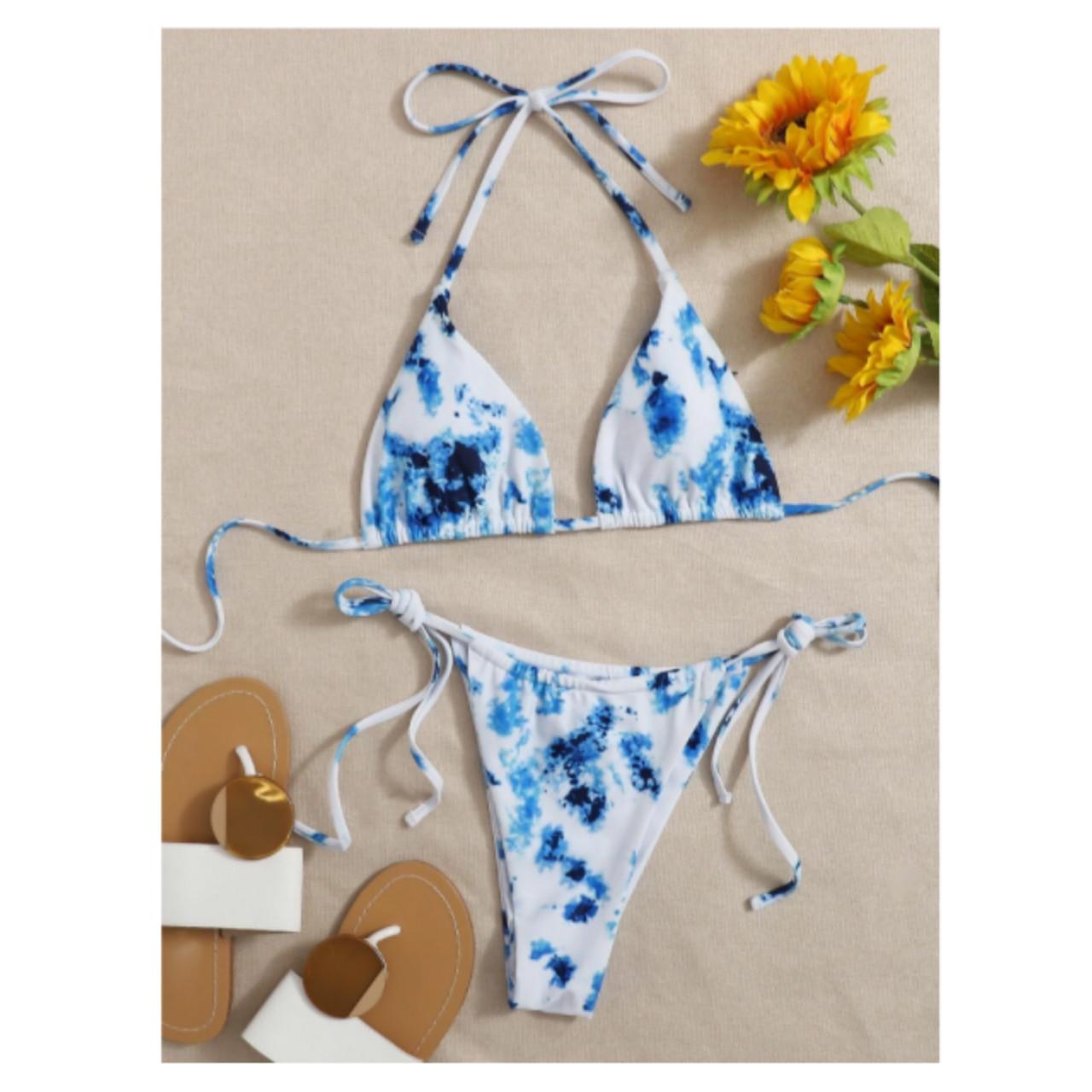 Tie-dye self-tie halter bikini swimsuit s