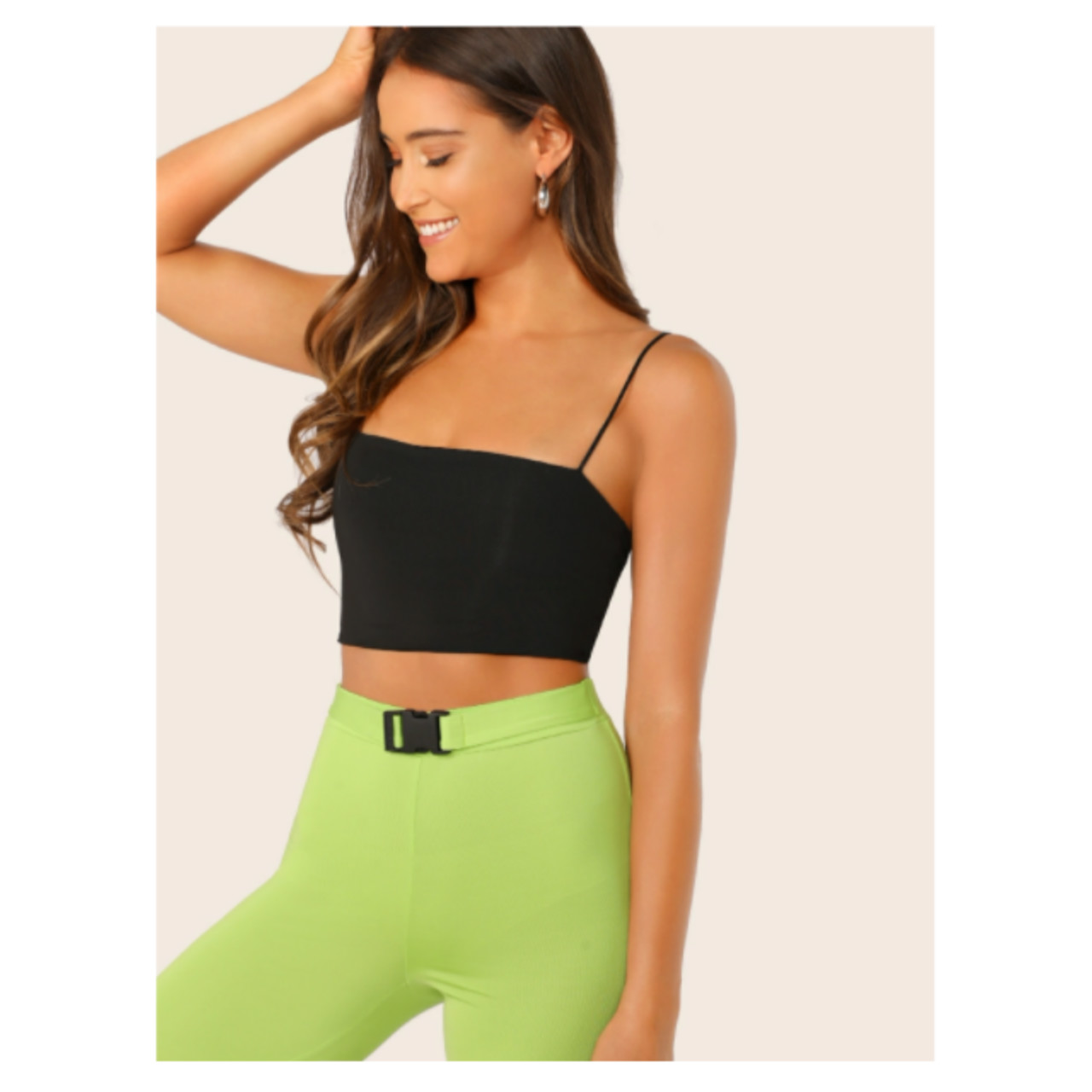 Shein solid stretch-knit cropped cami top s