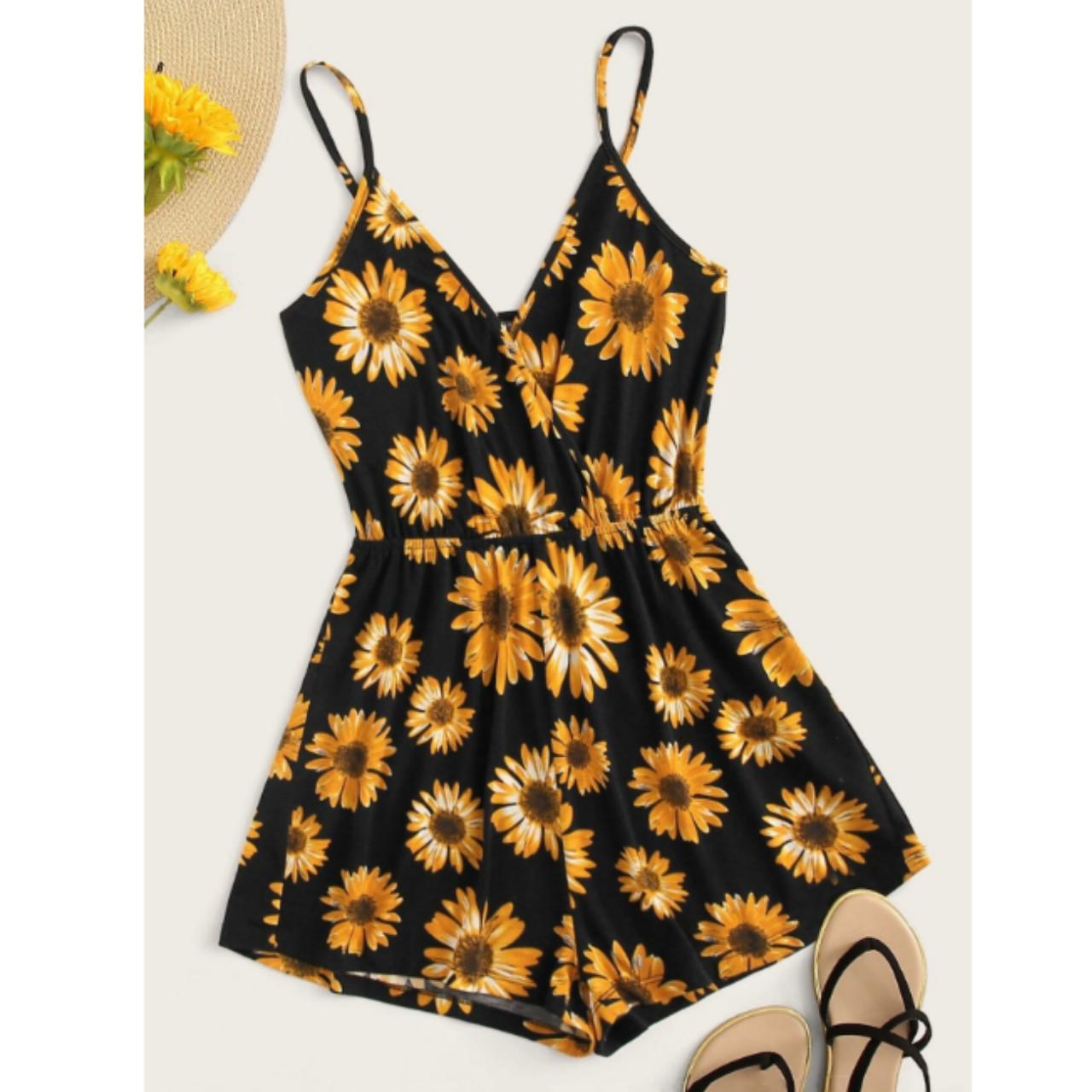 Surplice neck sunflower print cami romper s