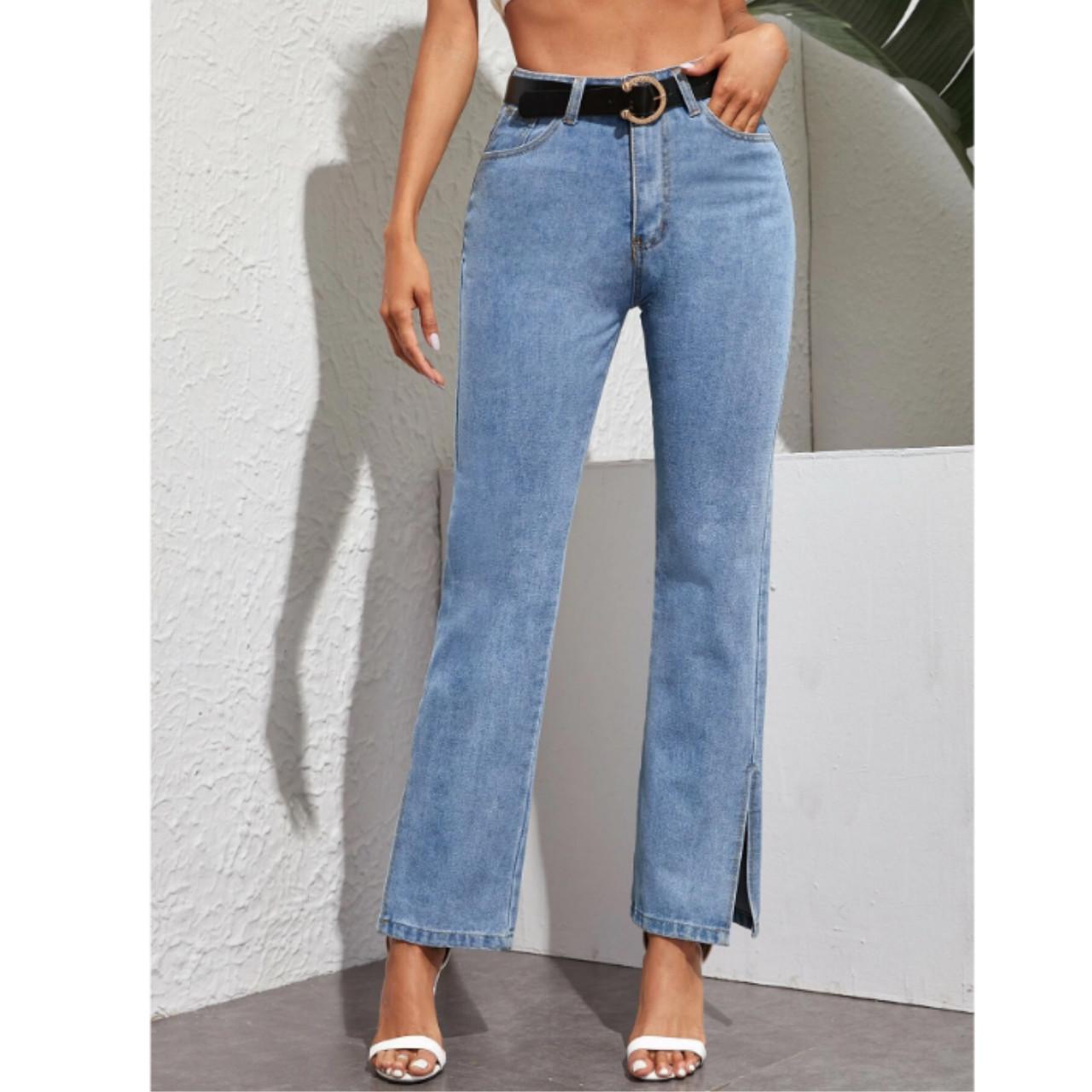 Slit hem straight leg jeans without belt l