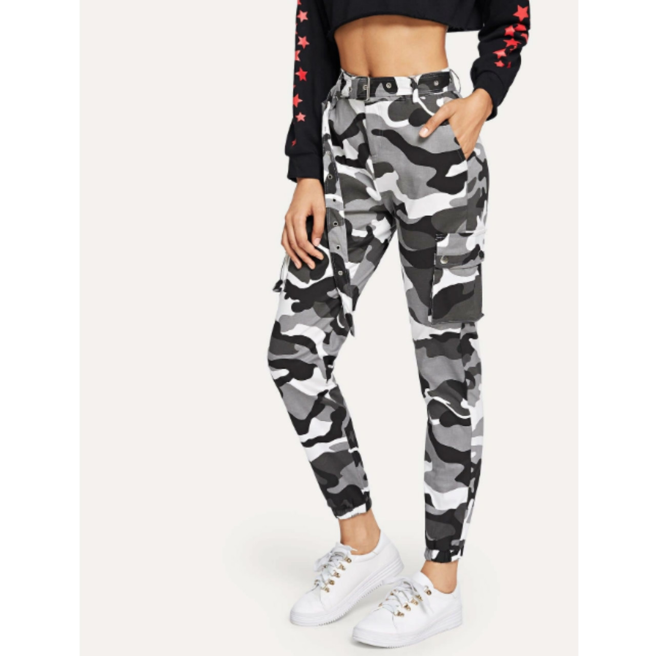Camo print belted utility joggers xl