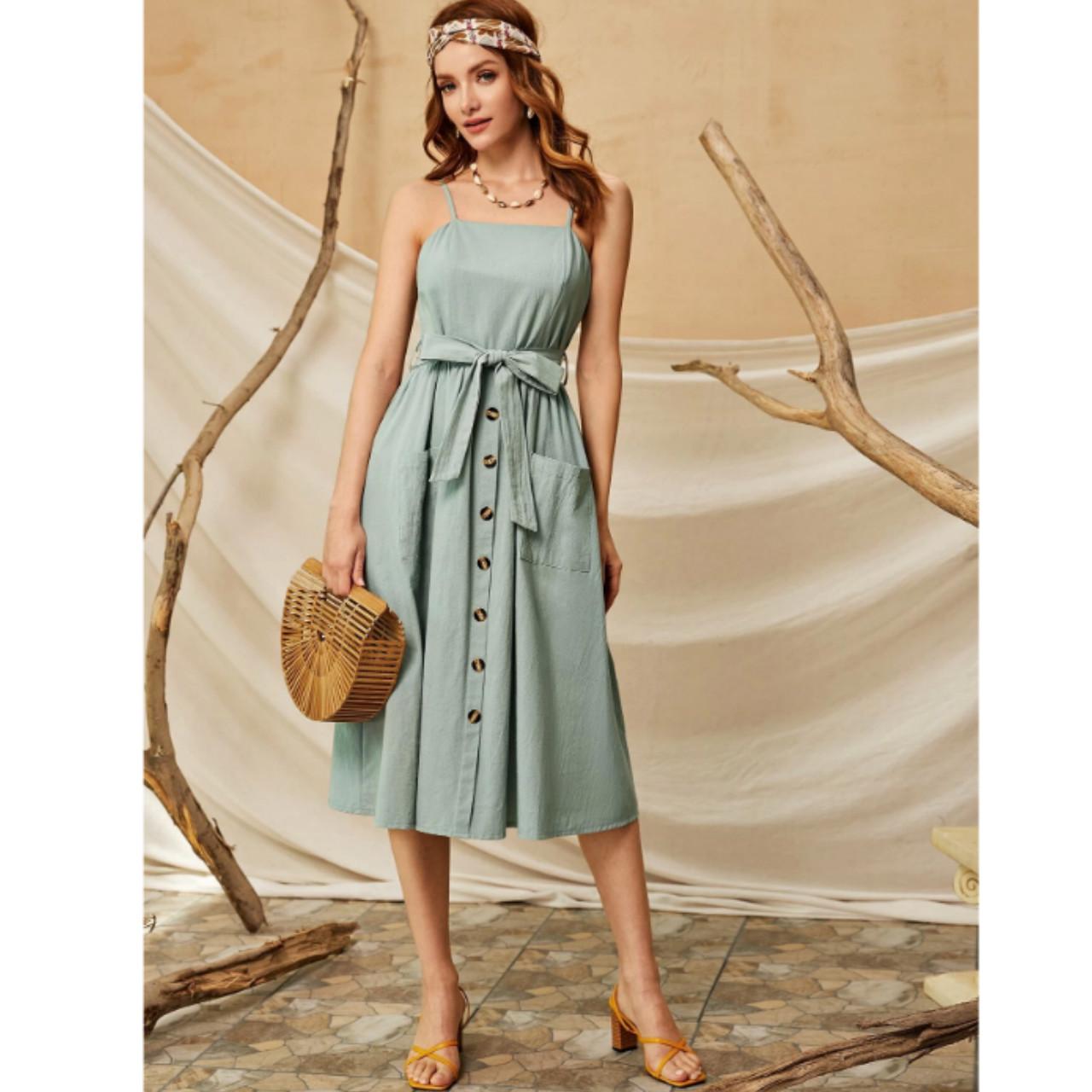 Solid belted dual pocket cami dress s