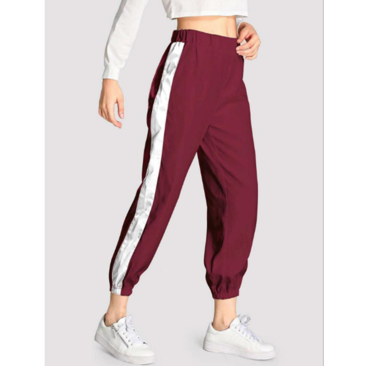 Contrast tape side pants s