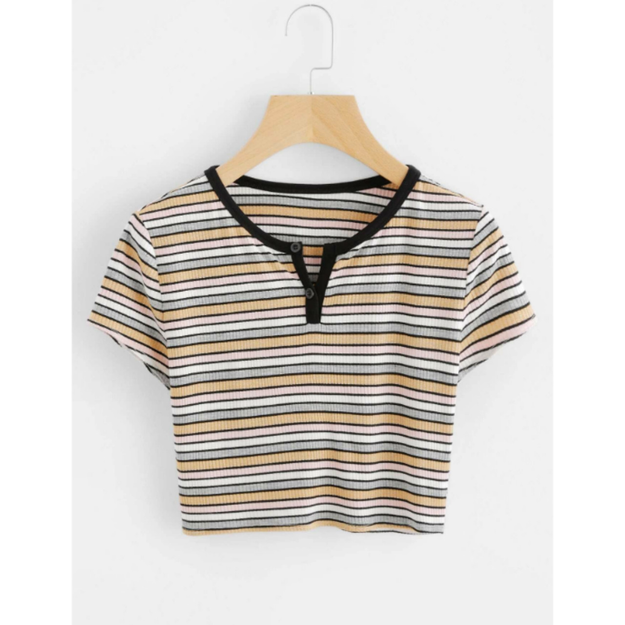 Striped ribbed crop henley tee m