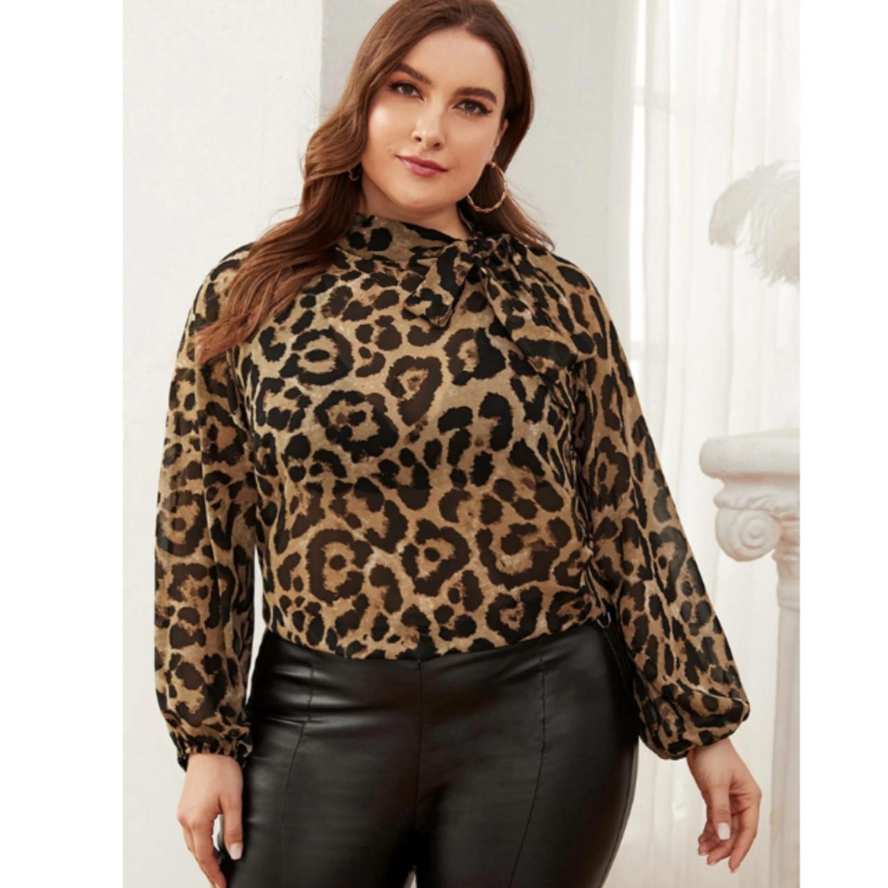 Plus tie neck lantern sleeve leopard top 0xl