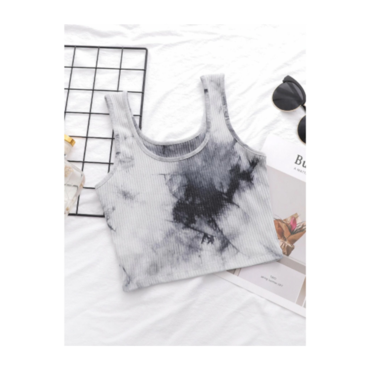 Ribbed tie-dye cropped tank top s