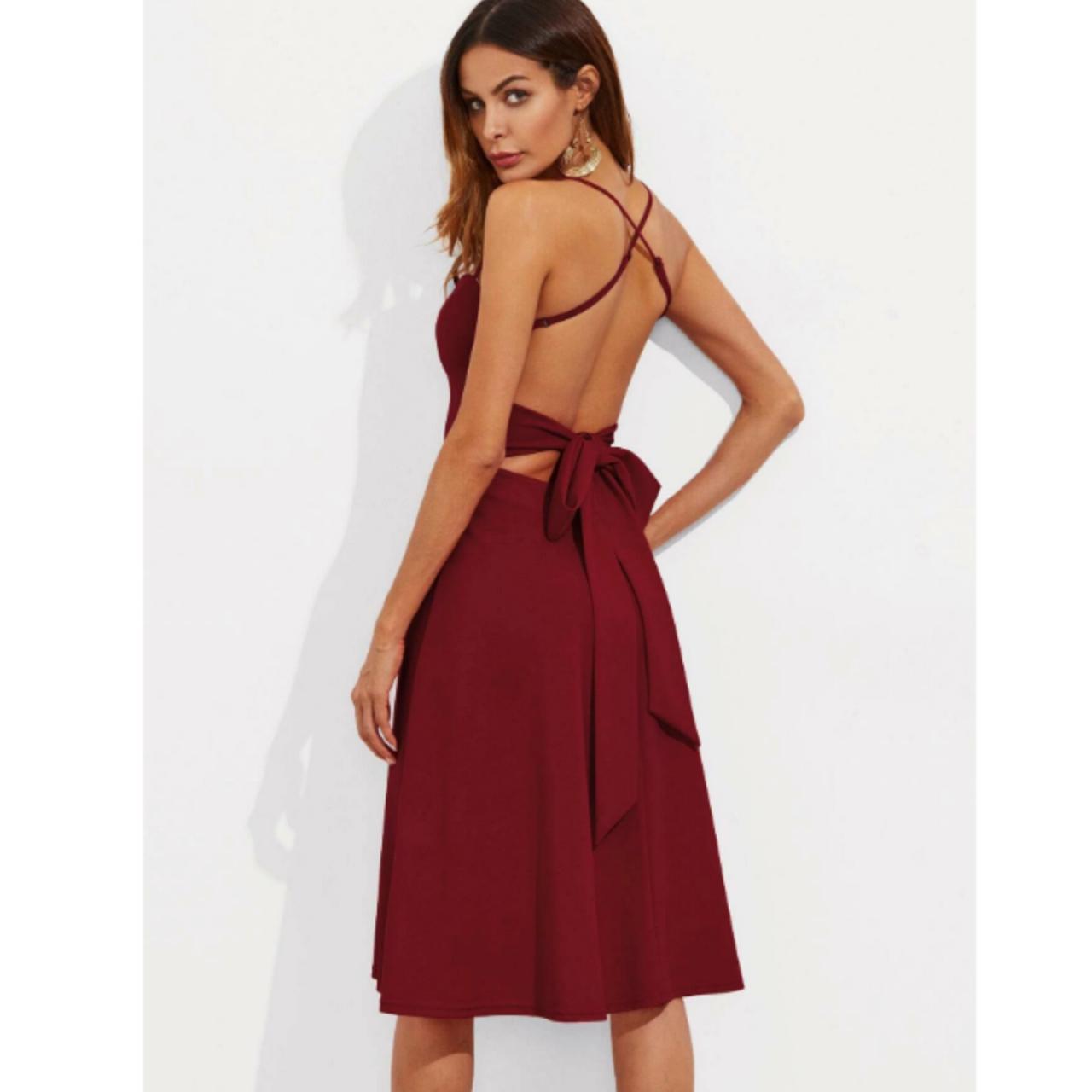Crisscross tie back cami flare dress xs