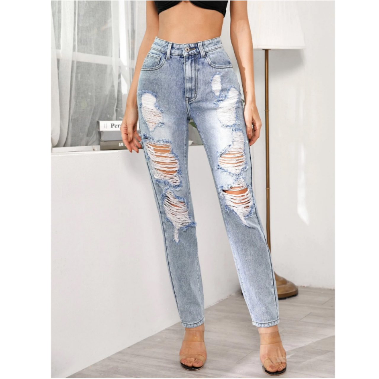 Light wash ripped jeans m