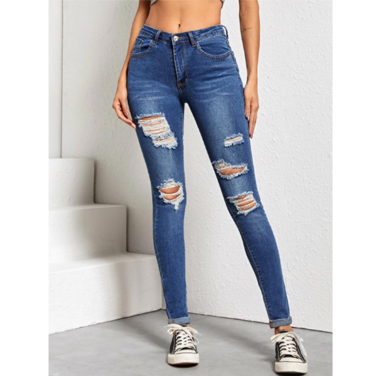 High waist high stretch distressed skinny jeans m