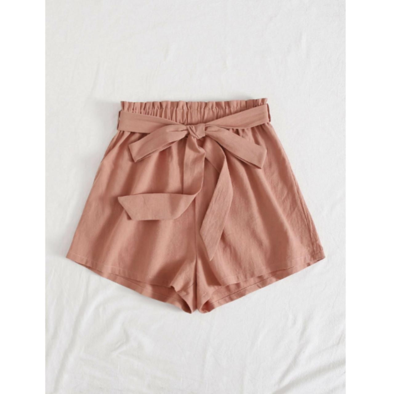 Belted paperbag waist wide leg shorts m