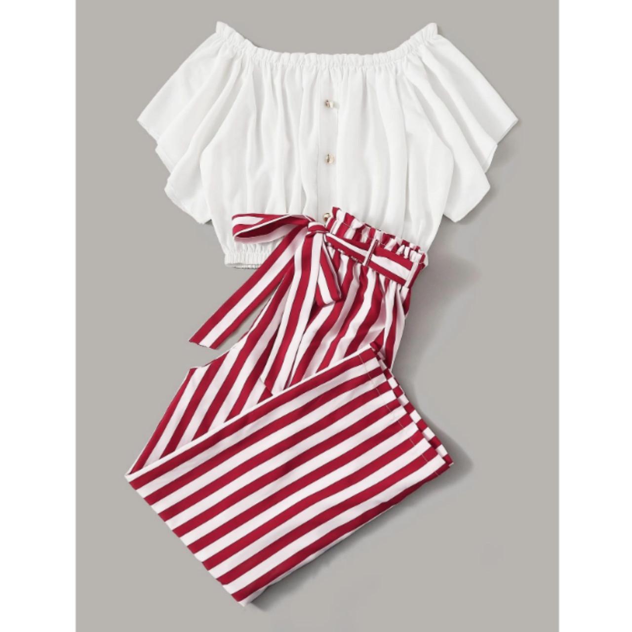 Plus top & striped pants set 4xl